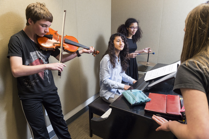 Students practicing in Music Room