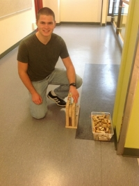 Edgar Smit pictured with the catpault he built in the Design Lab.